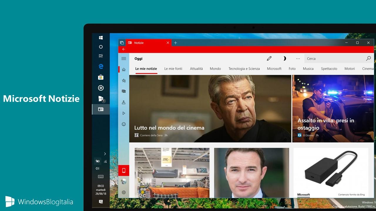 Nuova app Microsoft Notizie Windows 10