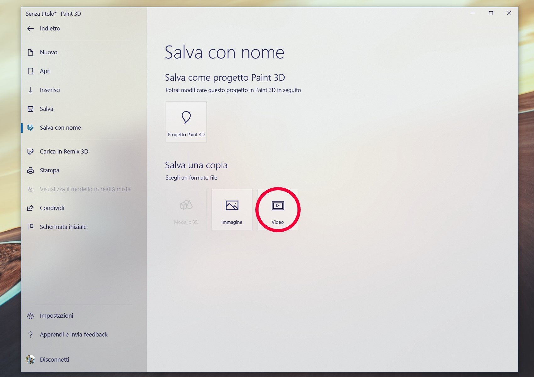 Paint 3D salva come video Windows 10