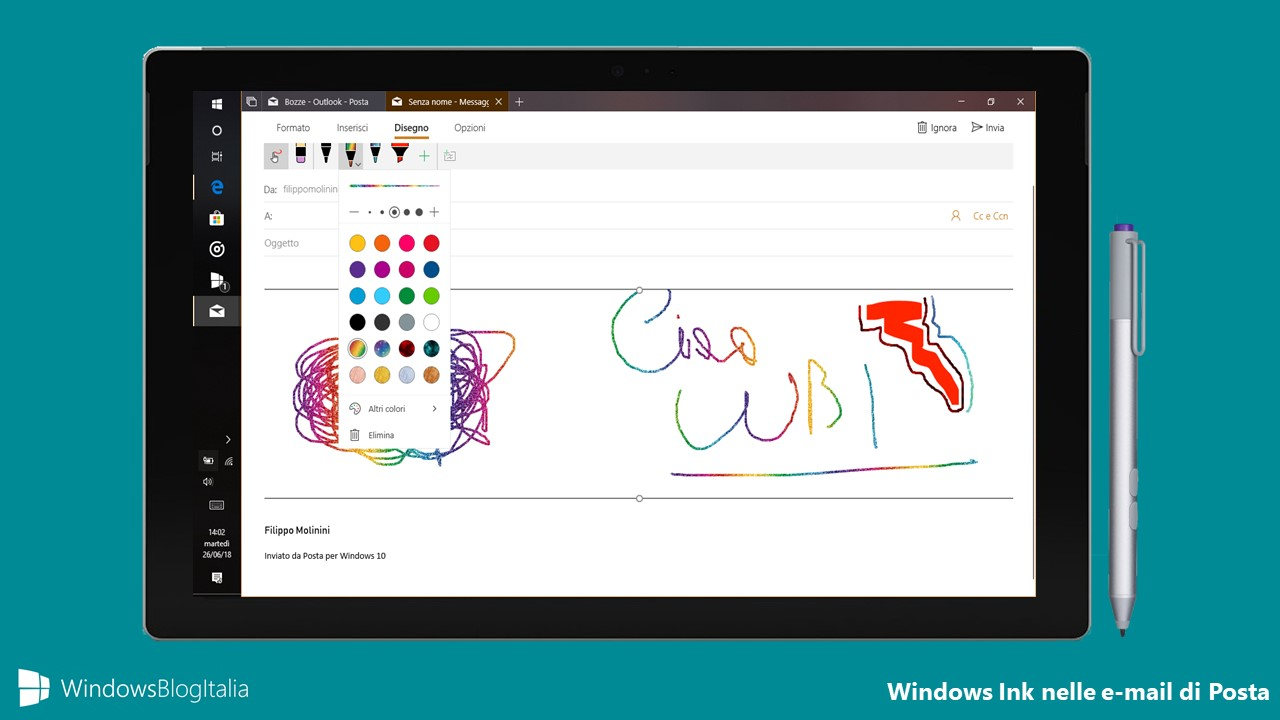 Windows Ink app Posta e Calendario