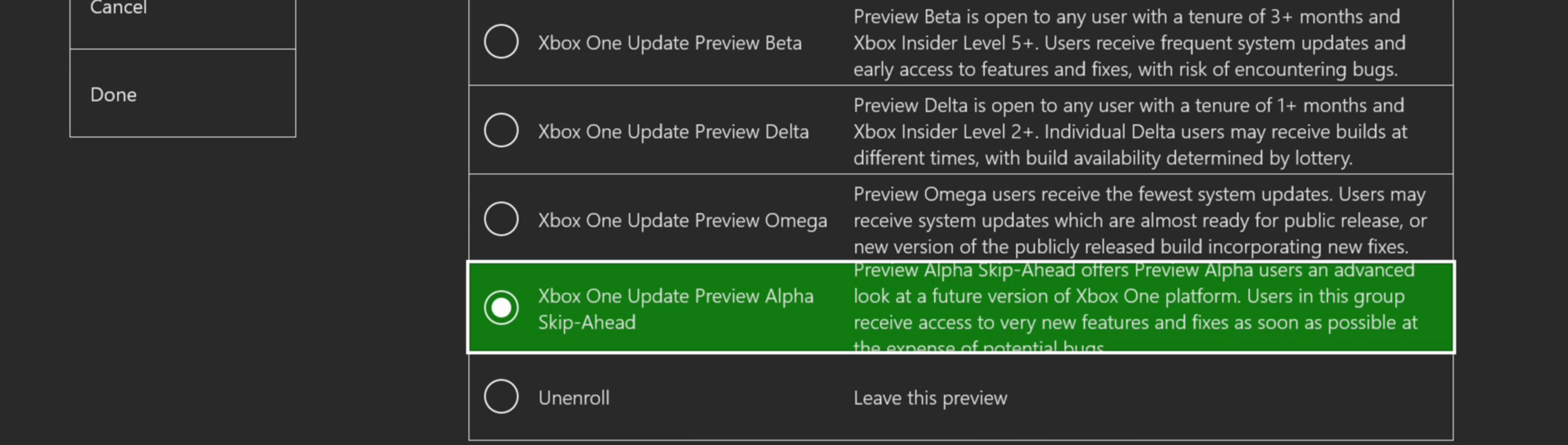 Xbox One Insider opzioni