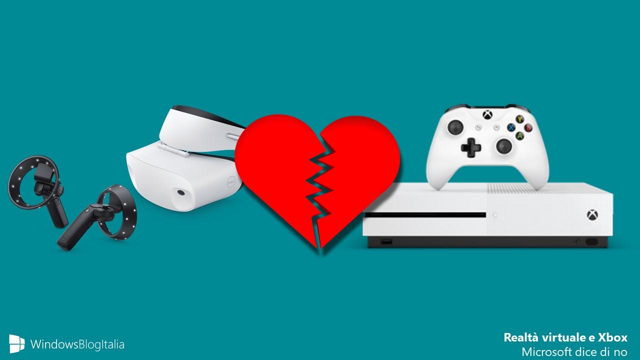 Xbox One S realta virtuale Microsoft NO