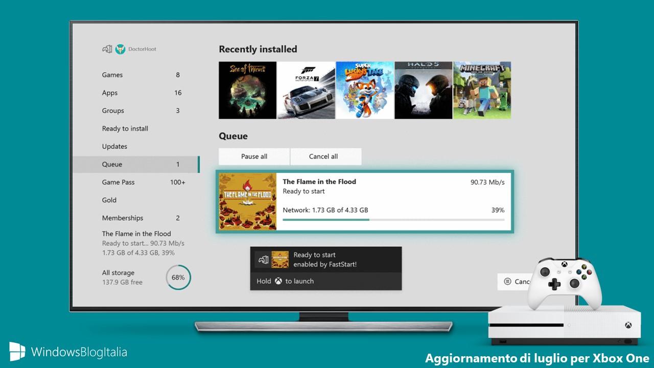 Aggiornamento luglio Windows 10 Xbox One