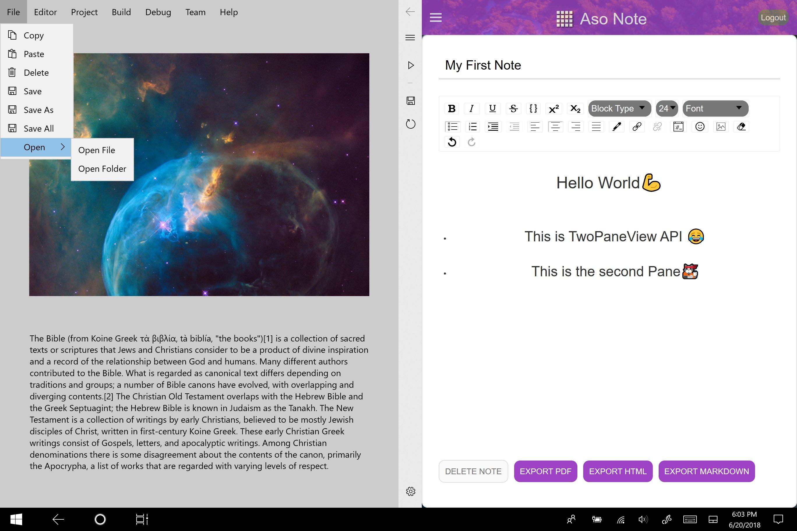 Andromeda app doppio display