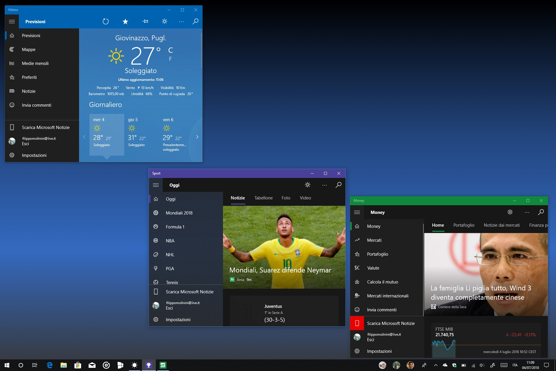 App MSN Meteo MSN Sport MSN Money Fluent Design