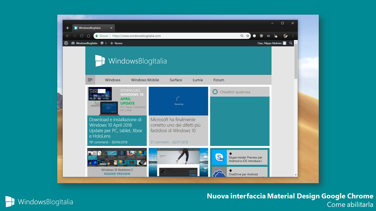 Come abilitare nuova interfaccia Material Design Google Chrome