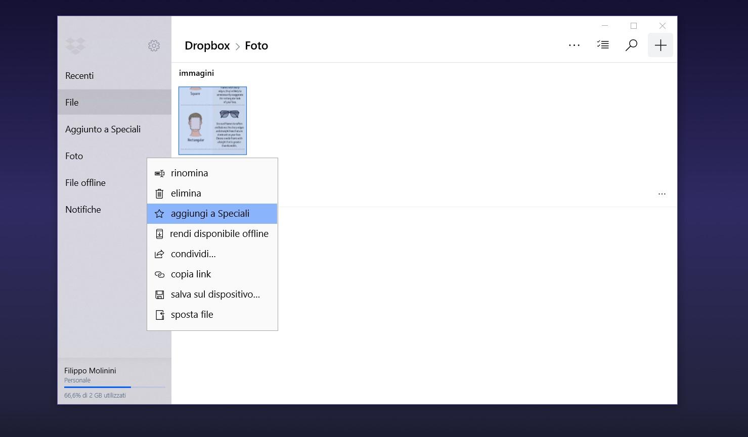 Dropbox Windows nuova interfaccia file speciali