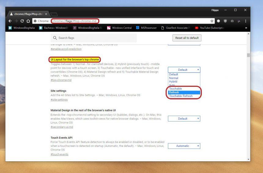 Impostazioni Google Chrome nuova interfaccia