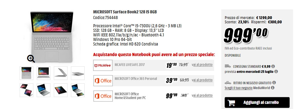 MediaWorld offerta Microsoft Surface Book 2