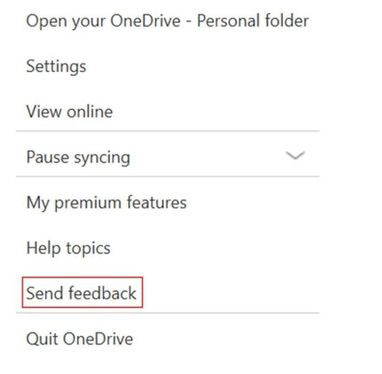 OneDrive Windows 10 Invia feedback