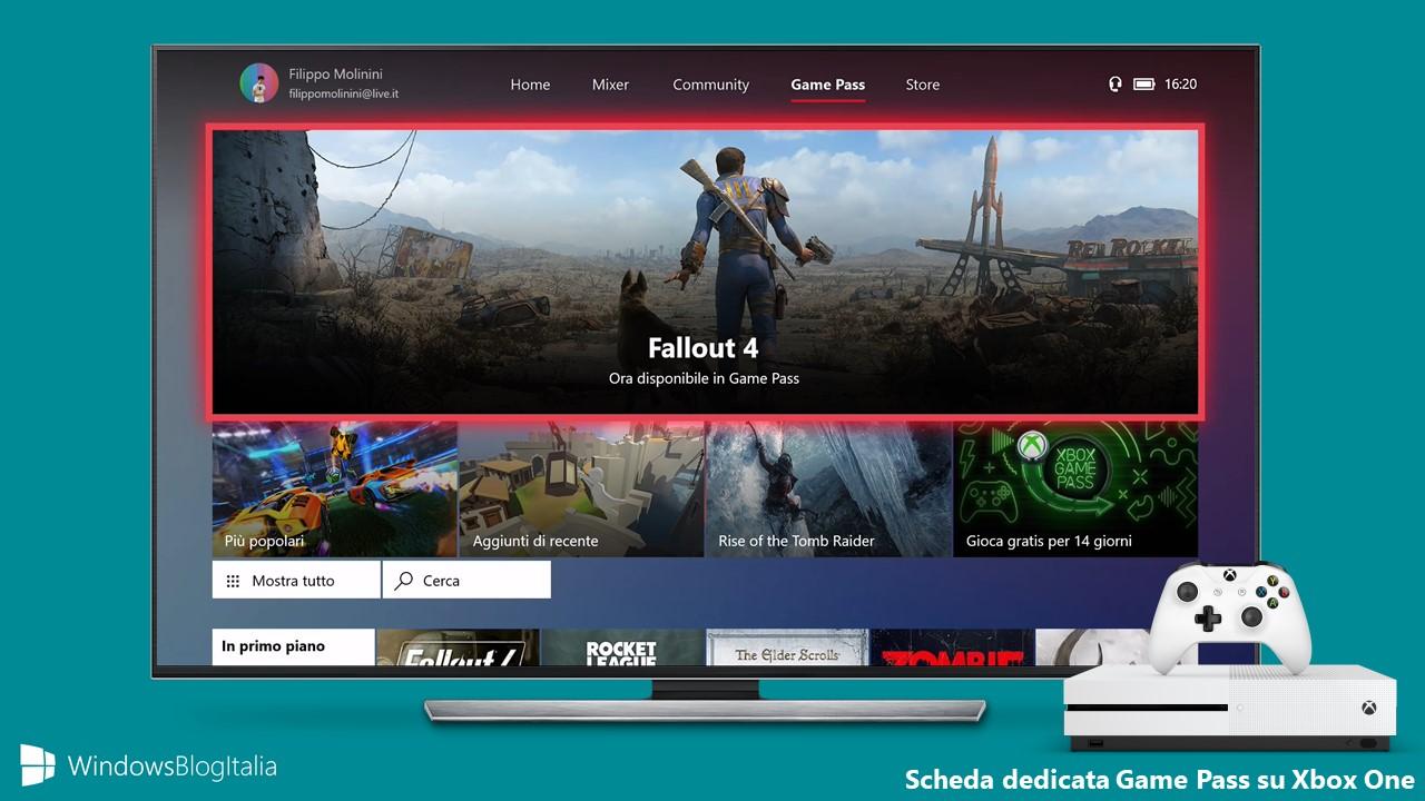Scheda dedicata Game Pass Xbox One