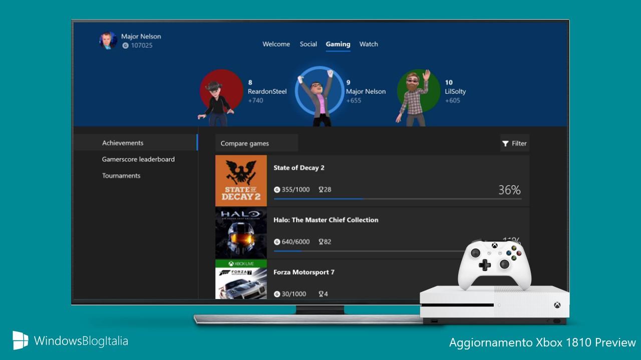 Aggiornamento Xbox 1810 Preview