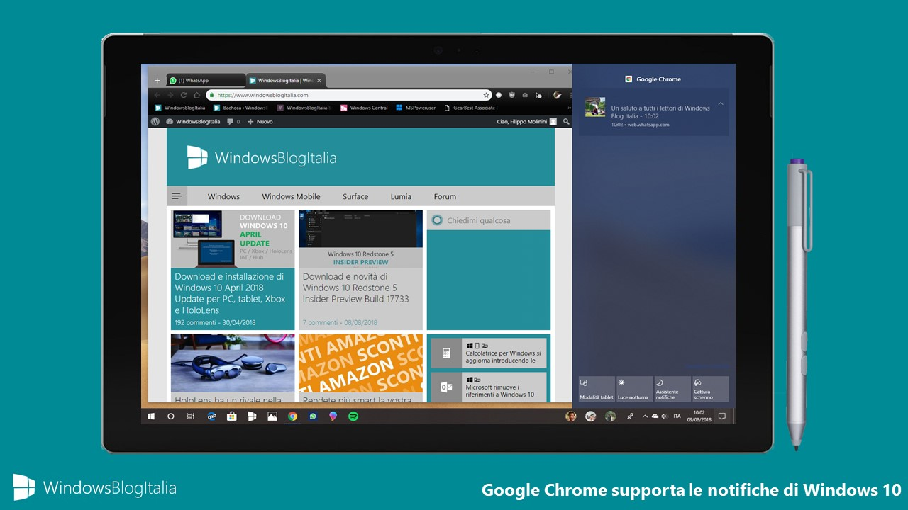 Google Chrome supporto notifiche native Windows 10 Action Center