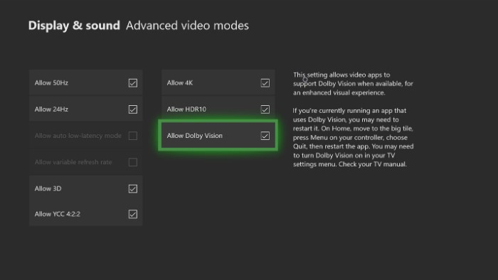 Impostazioni Xbox One Dolby Vision