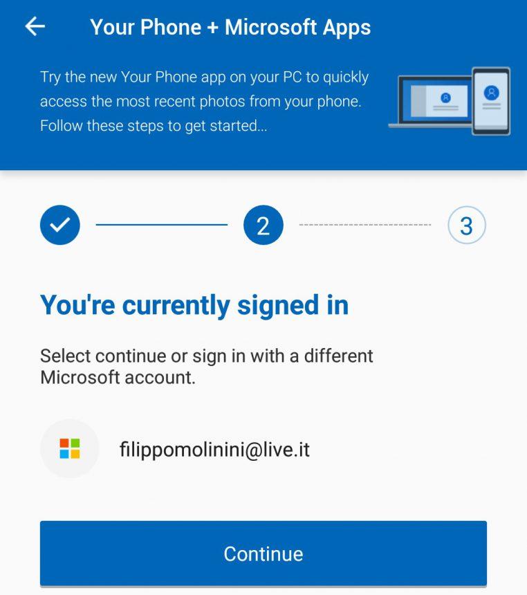 Microsoft Apps Android sincronizzazione Il tuo telefono PC 3