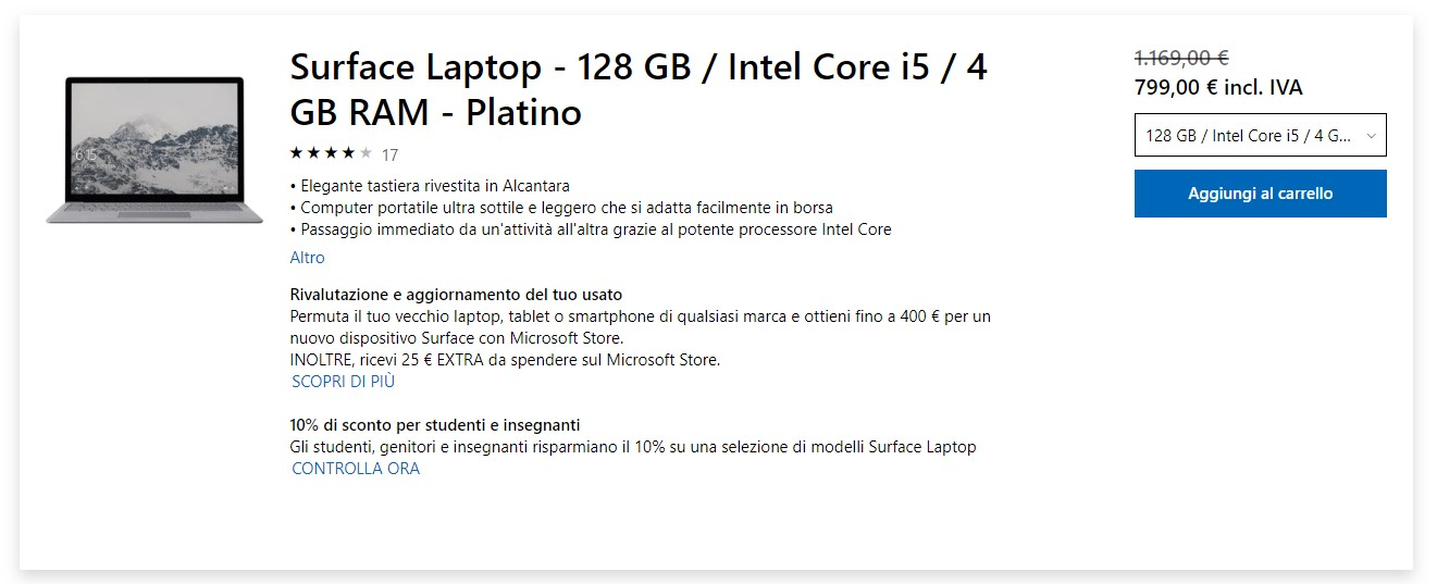Surface Laptop offerta Microsoft Store