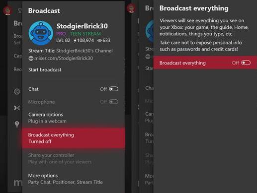Xbox One aggiornamento ottobre 1810 trasmetti tutto
