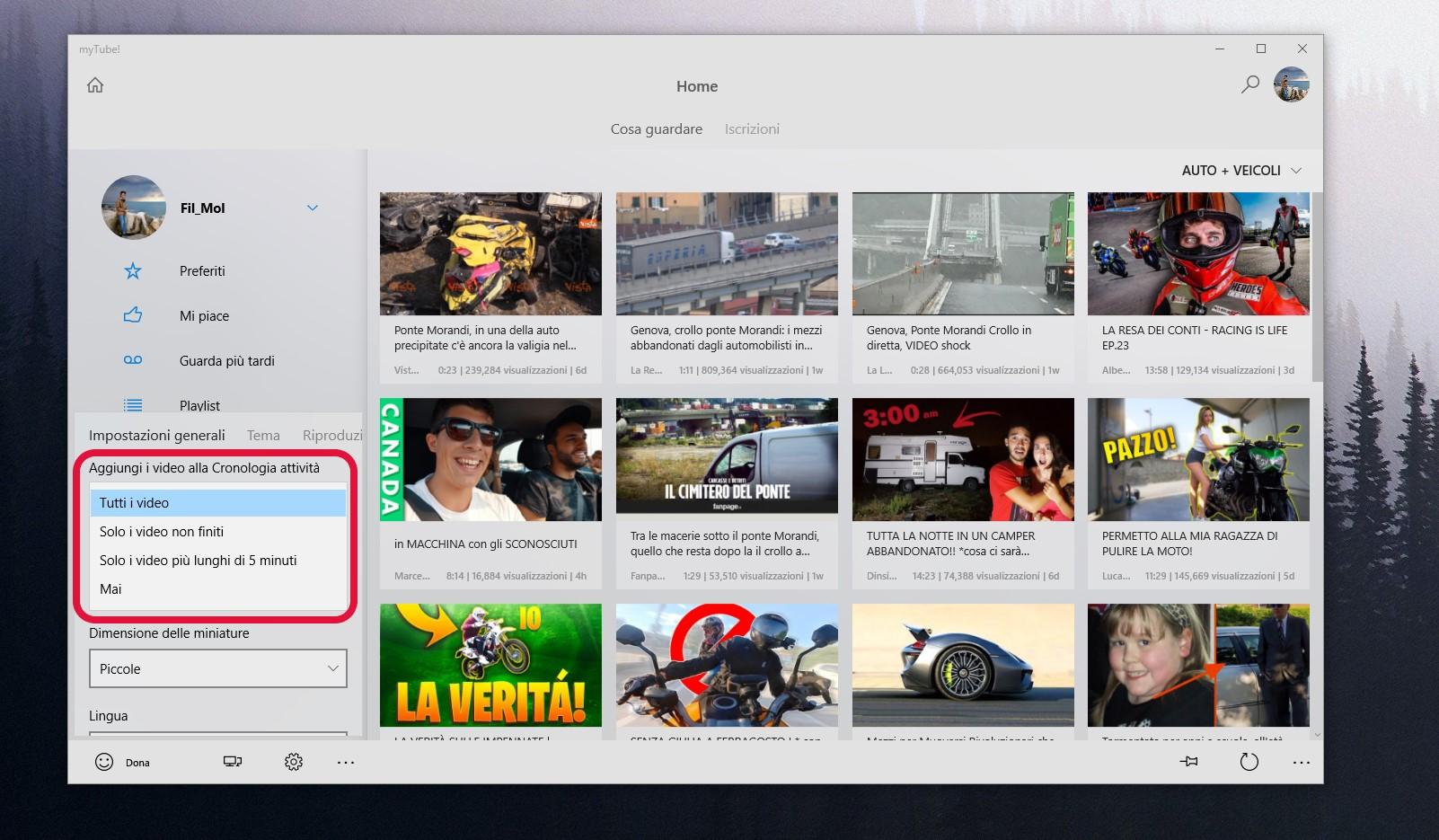 myTube Windows 10 nuovo tema bianco e nero opzioni Sequenza temporale