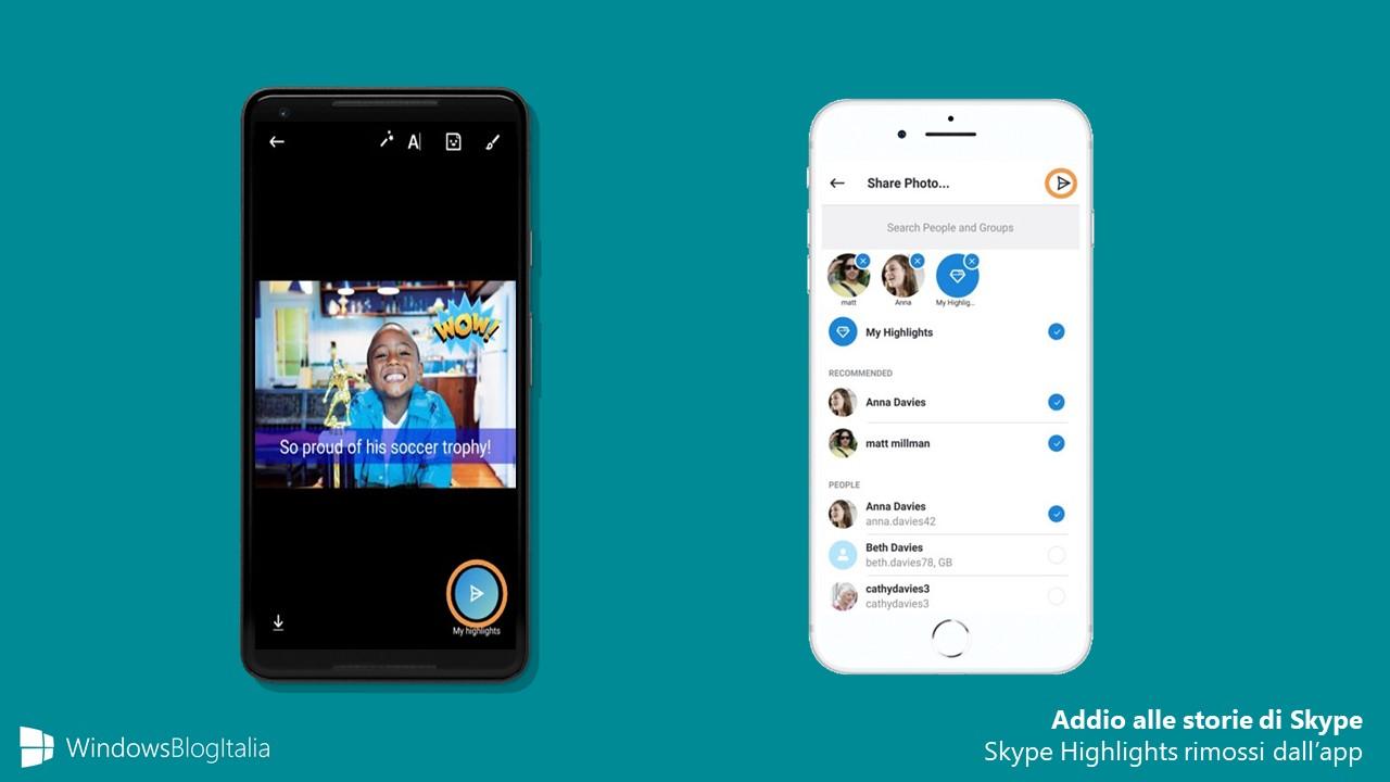 Addio Skype Highlights rimossi applicazione mobile