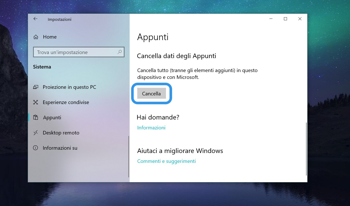 Cronologia Appunti Windows 10