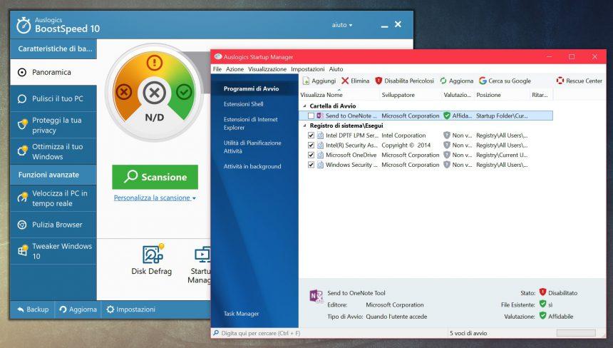 Disattivare app programmi avvio automatico Windows 10 Auslogics BoostSpeed 10