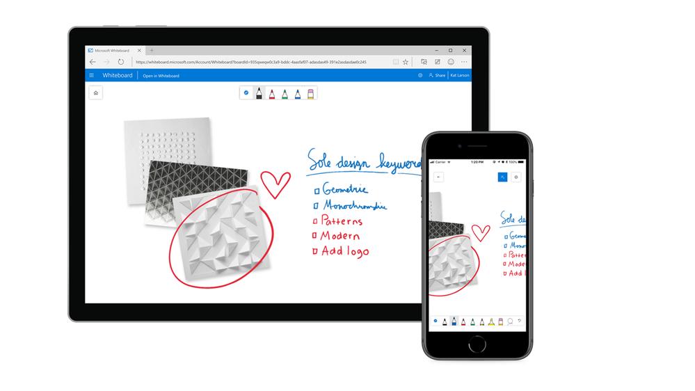 Microsoft Whiteboard web app iOS app