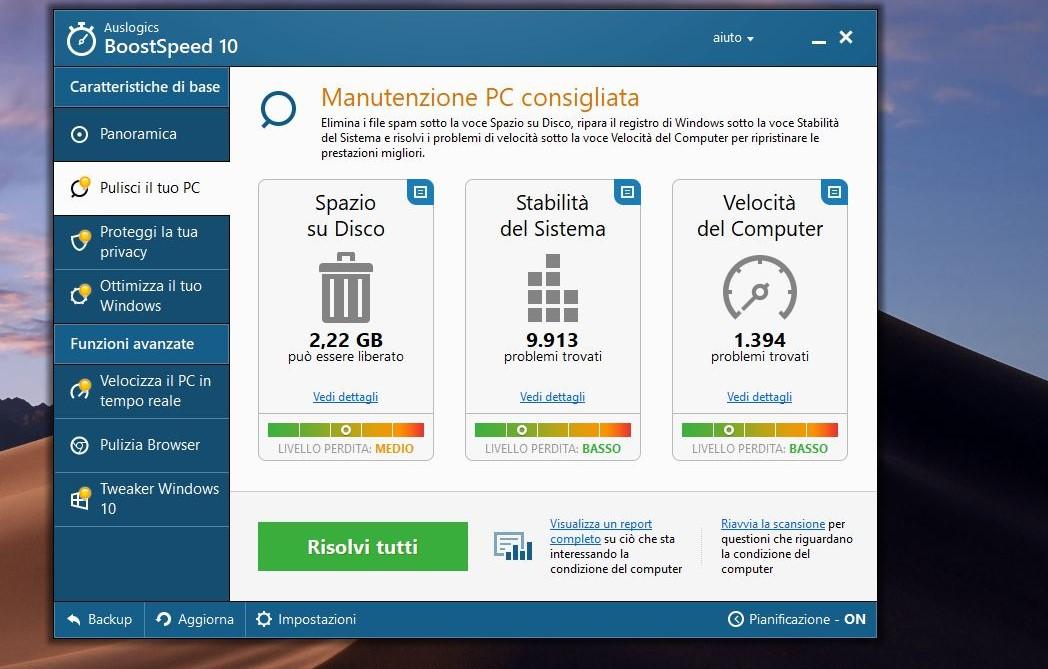 Pulizia disco file inutili Windows 10 Auslogics BoostSpeed 10