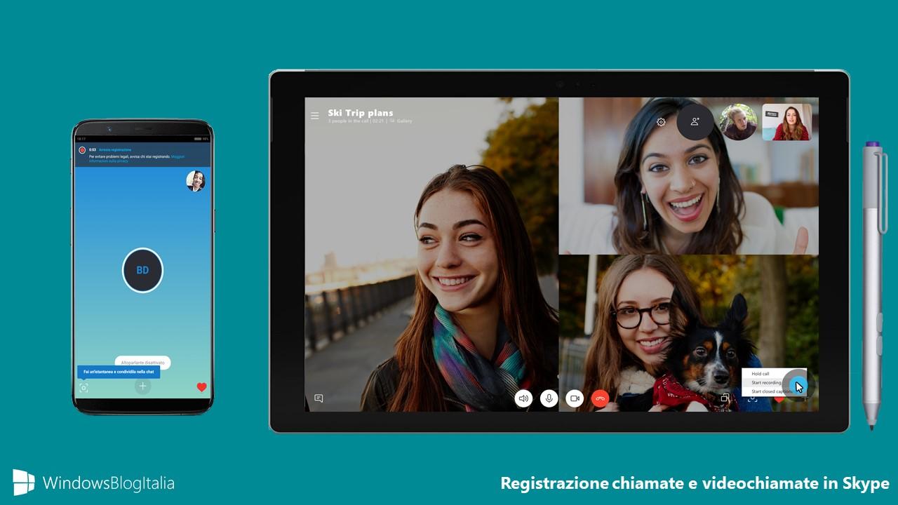 Registrazione chiamate videochiamate Skype