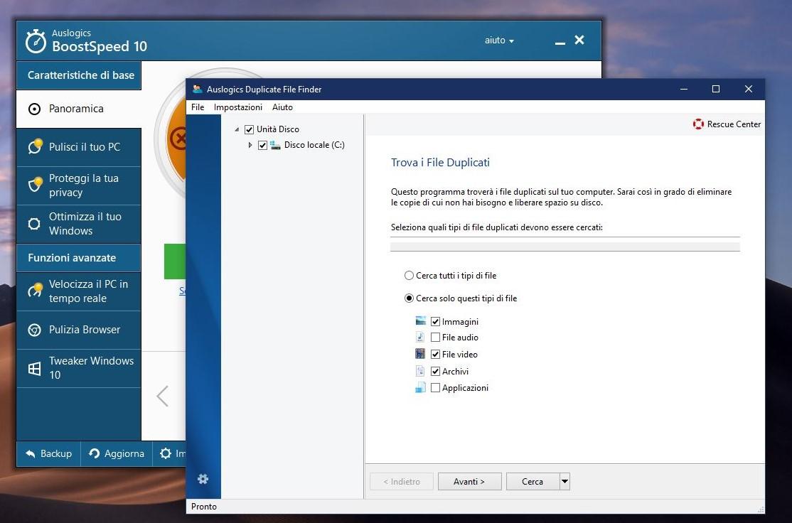 Rimozione file duplicati Auslogics BoostSpeed 10