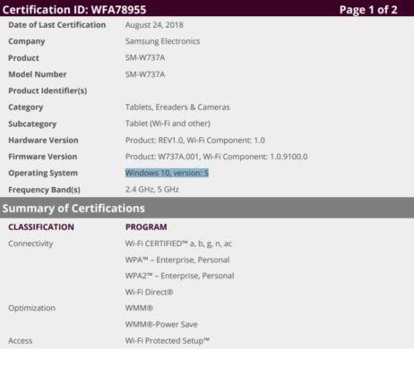 Samsung Galaxy Book 2 certificazione Wi-Fi Windows 10 S Mode