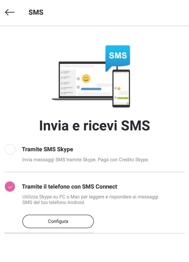 Skype SMS Connect smartphone Android