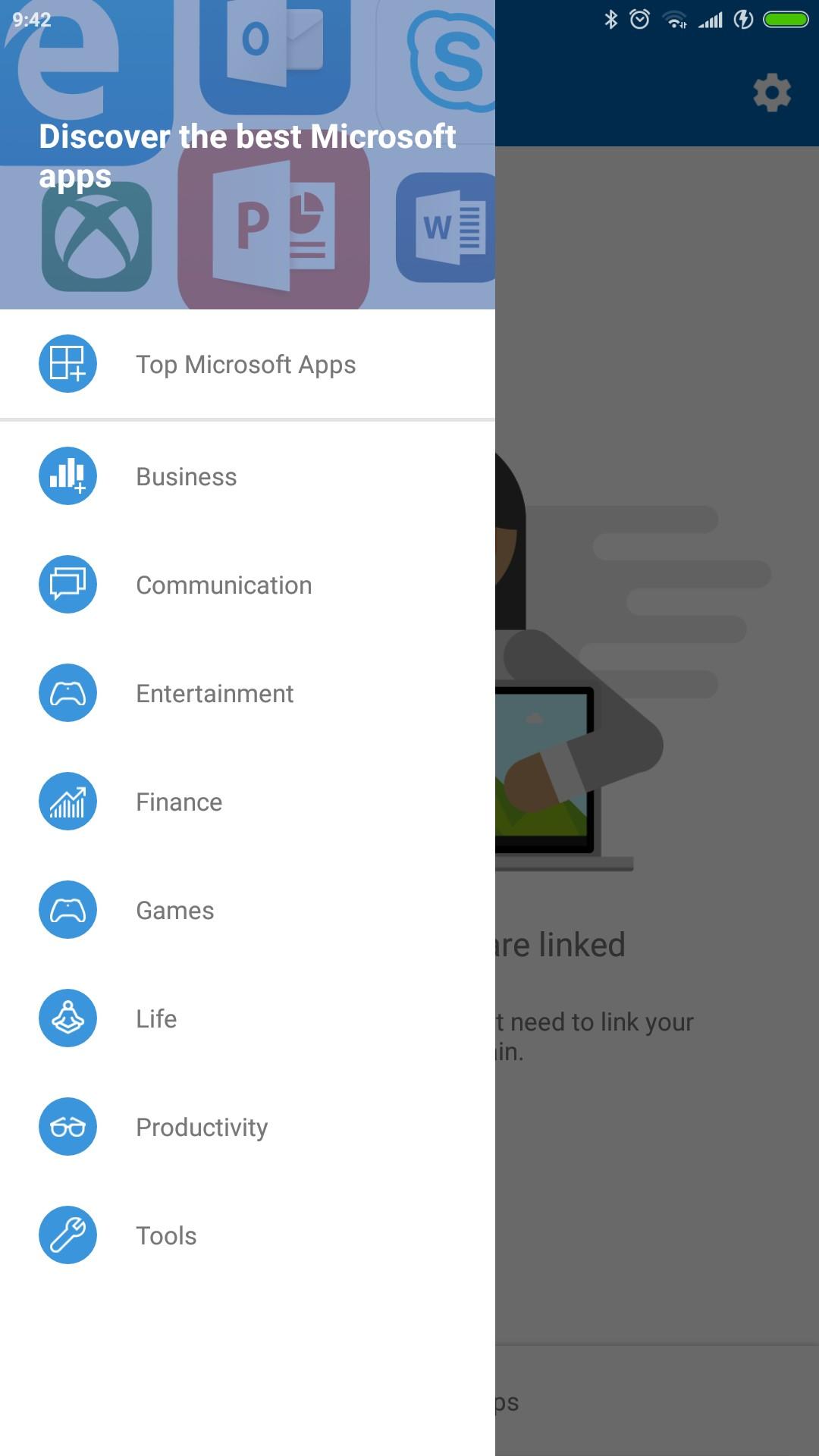 Your Phone Companion app Android menu hamburger