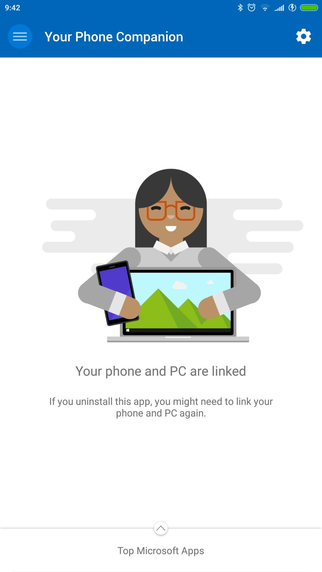 Your Phone Companion app Android pagina principale
