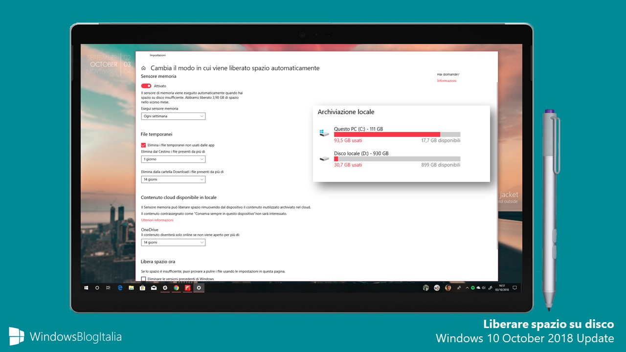 Liberare spazio disco Windows 10 October 2018 Update
