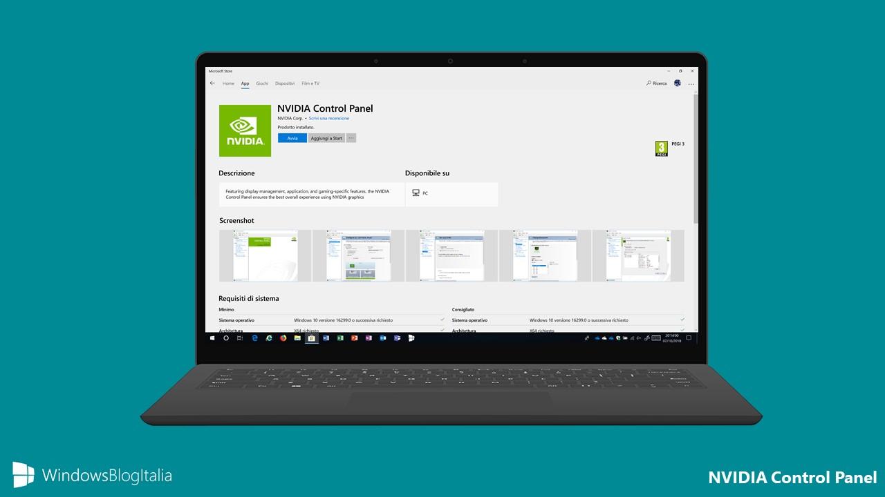 Download NVIDIA Control Panel per Windows 10 dal Microsoft Store