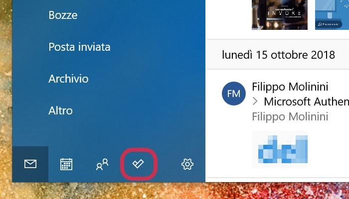 Posta e Calendario Windows 10 integrazione Microsoft To-Do