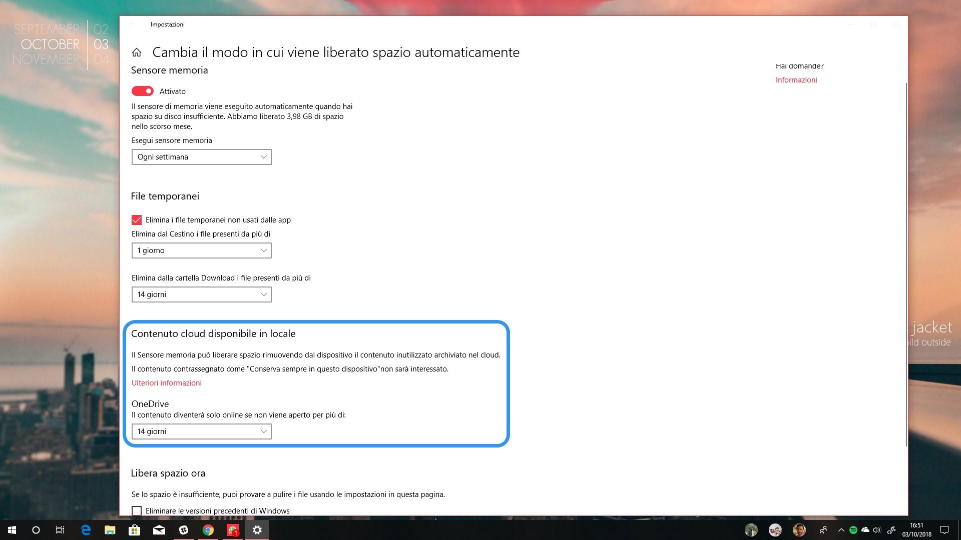 Sensore memoria Windows 10 October 2018 Update contenuto cloud