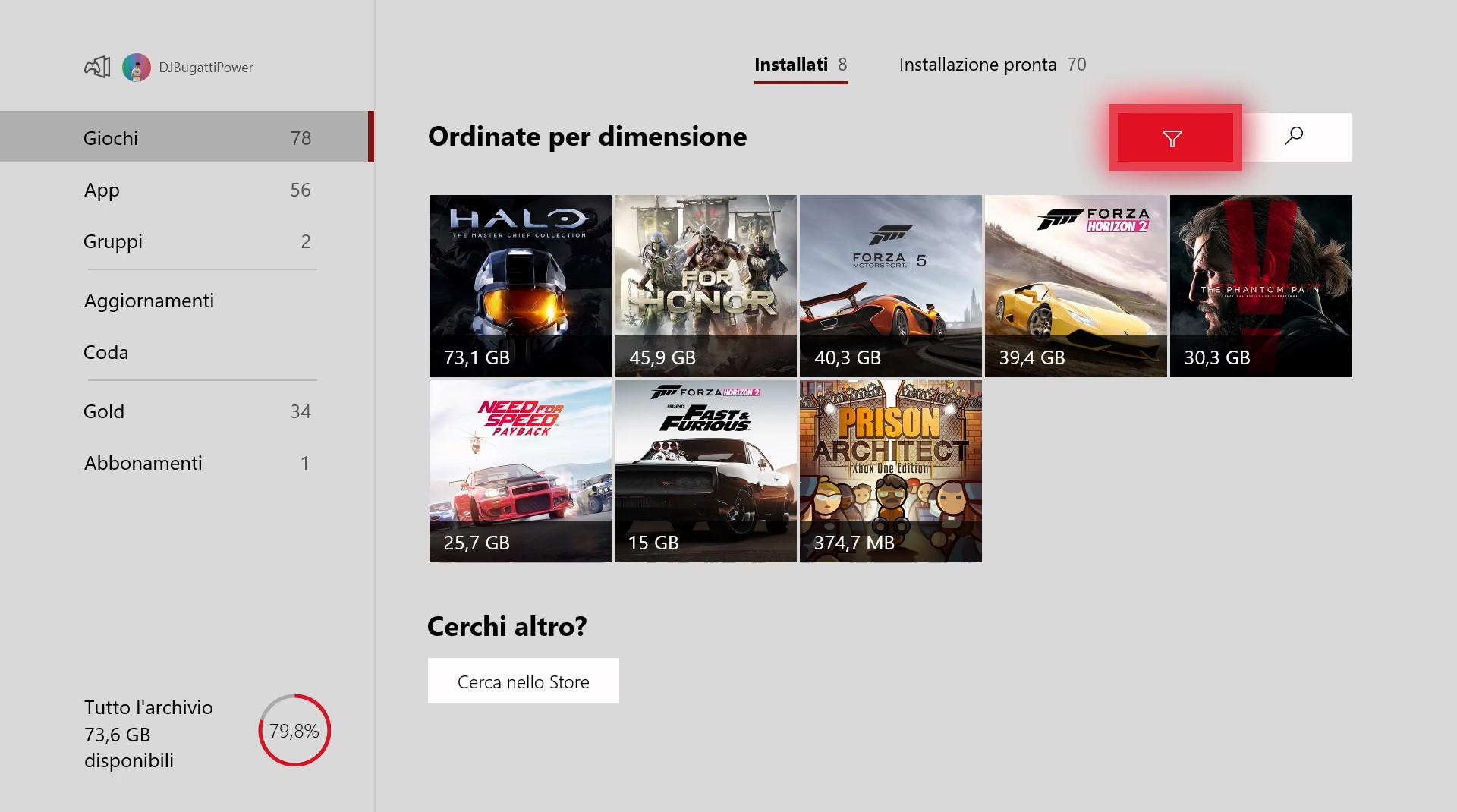 Xbox One nuova interfaccia I miei giochi e app Windows 10 1810 October 2018 Update