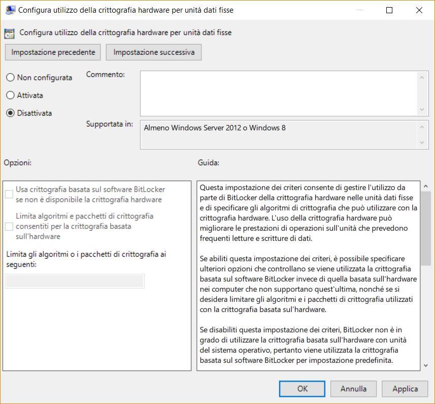 BitLocker crittografia hardware SSD