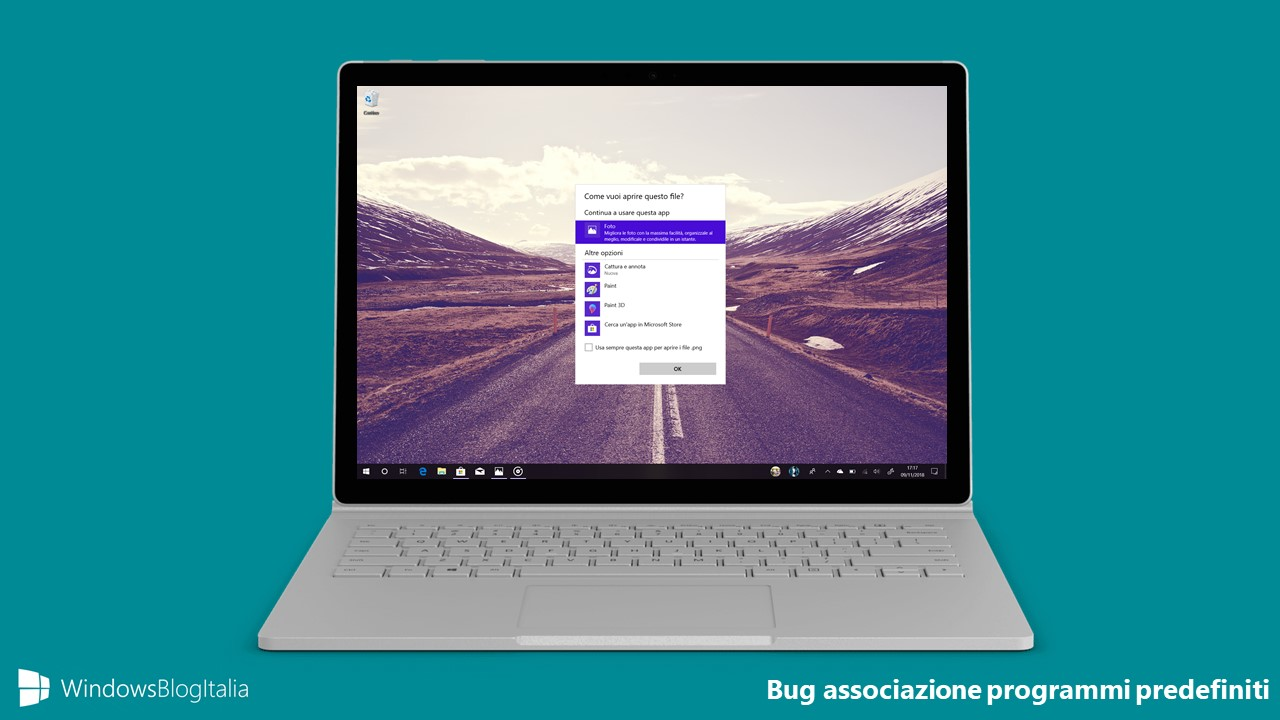 Bug fix associazione programmi predefiniti file Windows 10