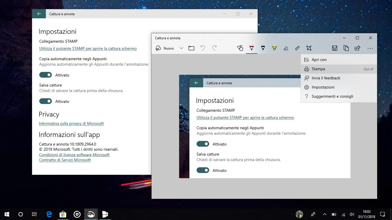 Cattura e annota Windows 10 impostazioni app Stampa