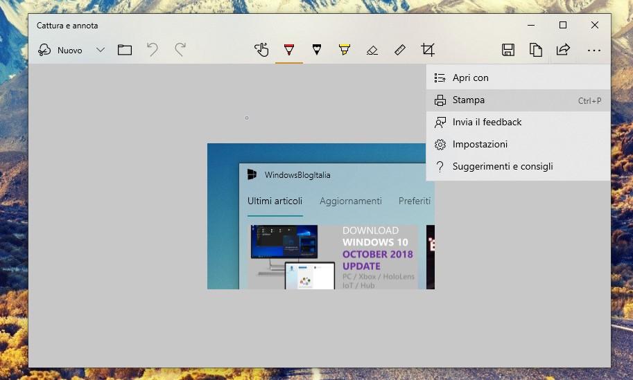 Cattura e note Windows 10 impostazioni stampa salva come