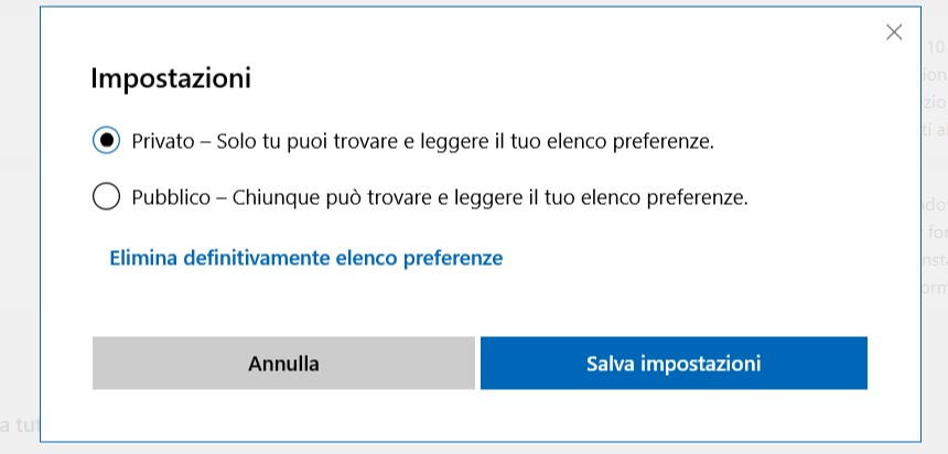 Elenco preferenze wishlist Microsoft Store privato pubblico