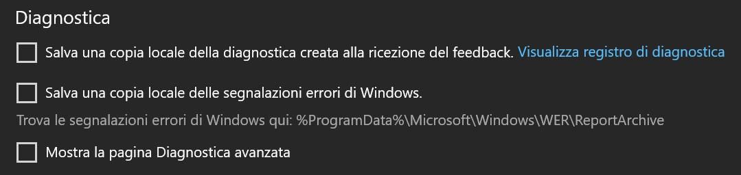Hub di Feedback diagnostica locale Windows 10