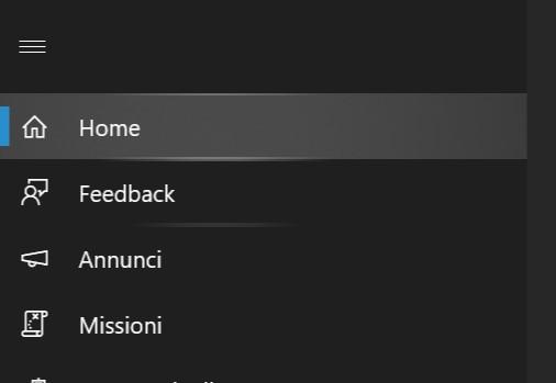Hub di Feedback nuovo design Fluent Design menu hamburger Windows 10