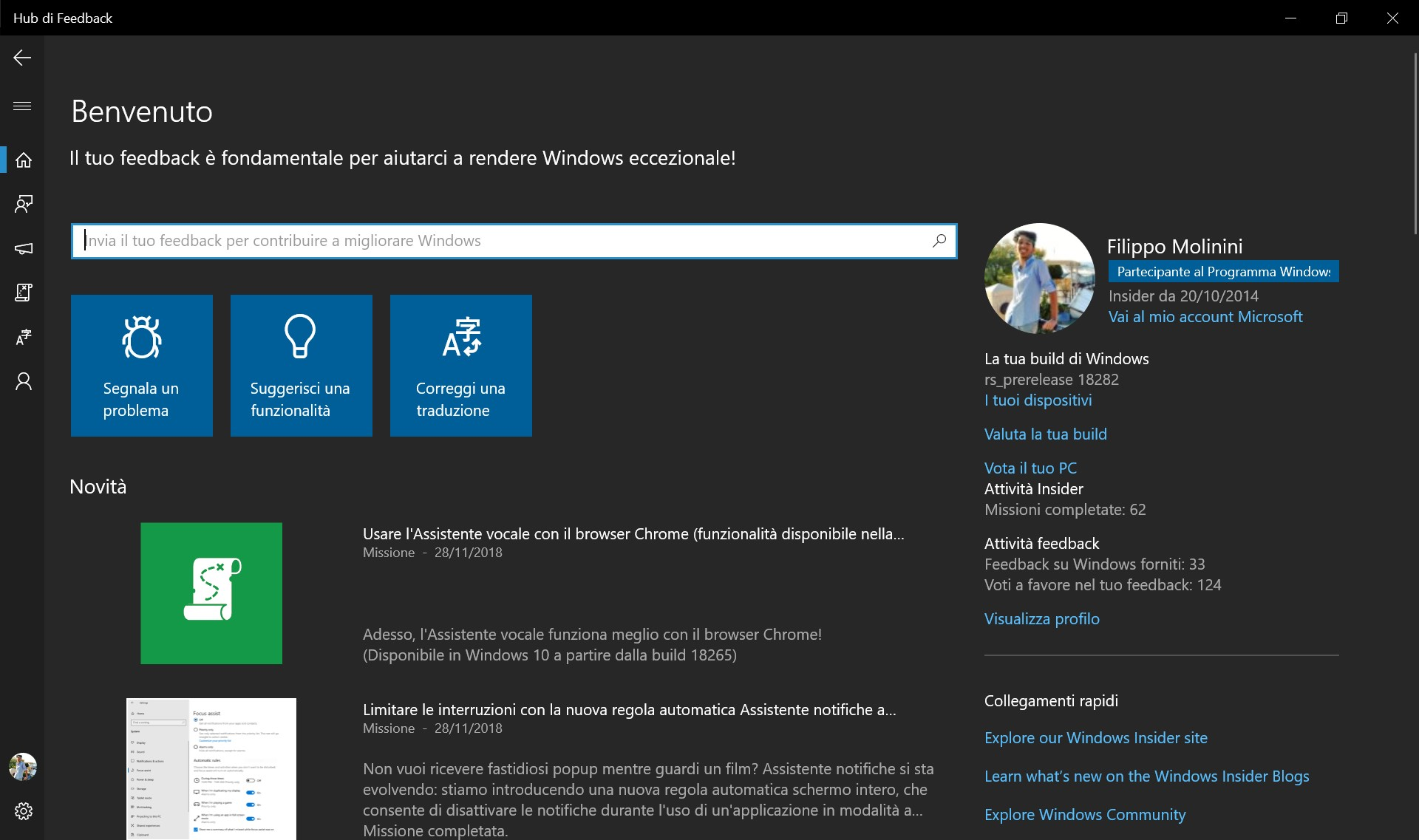 Hub di Feedback nuovo design tema scuro Windows 10