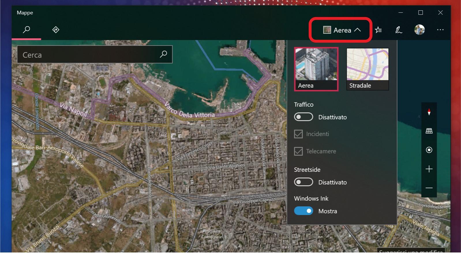 Mappe Windows 10 redesign visualizzazione mappe
