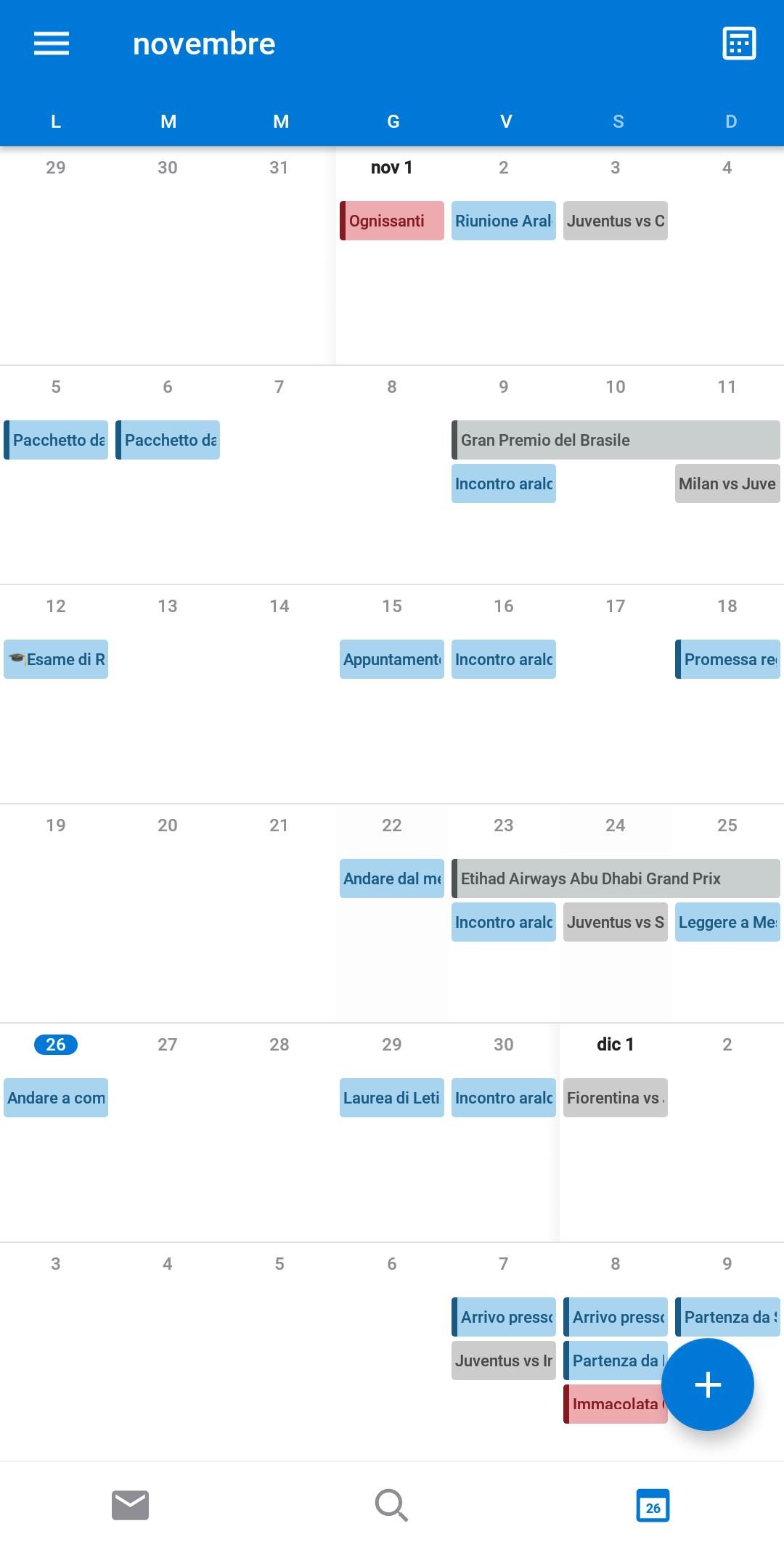 Microsoft Outlook Android visualizzazione mese calendario