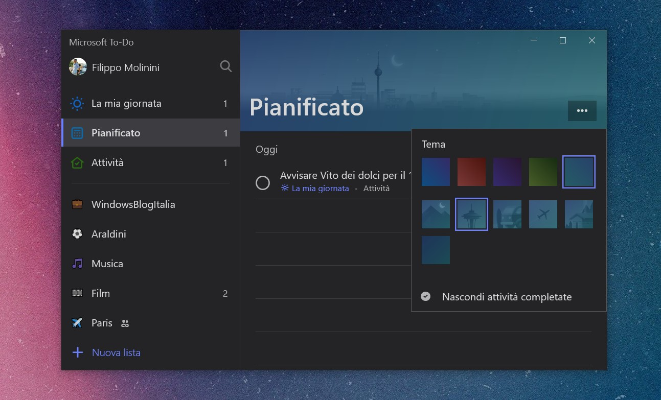 Microsoft To-Do Windows 10 temi lista Pianificato