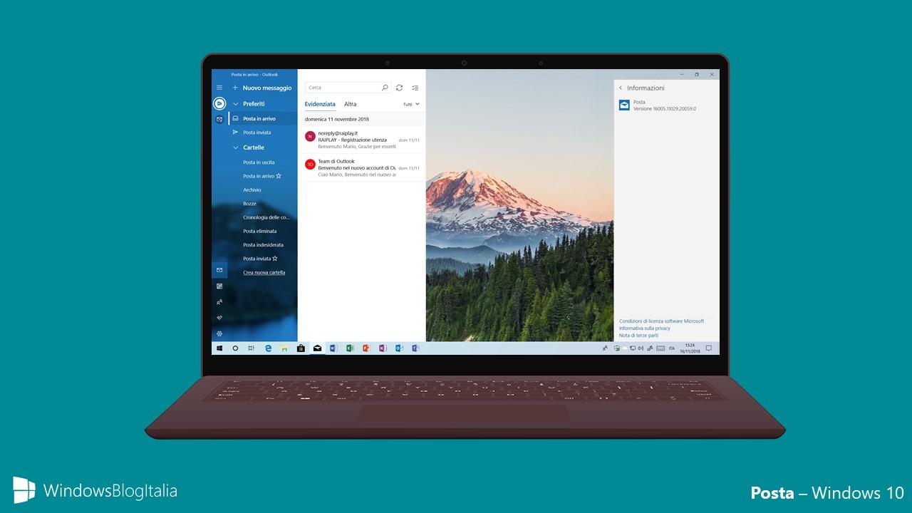 Nuovo look app Posta - Windows 10