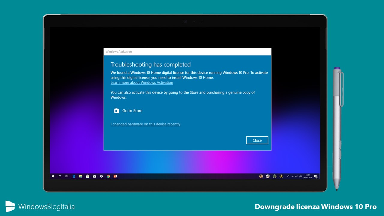 Problema downgrade licenza Windows 10 Pro Home